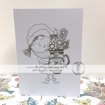 Santa Costume - Christmas Colouring Card