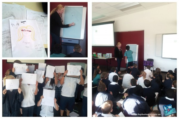 Book Week author illustrator visit at The Grange Prep-12 College. Puppets, drawing, how a picture book is created and more.