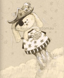 Daily Doodle - Space Pirate Bunny Rabbit Childrens illustration, drawing in sketchbook