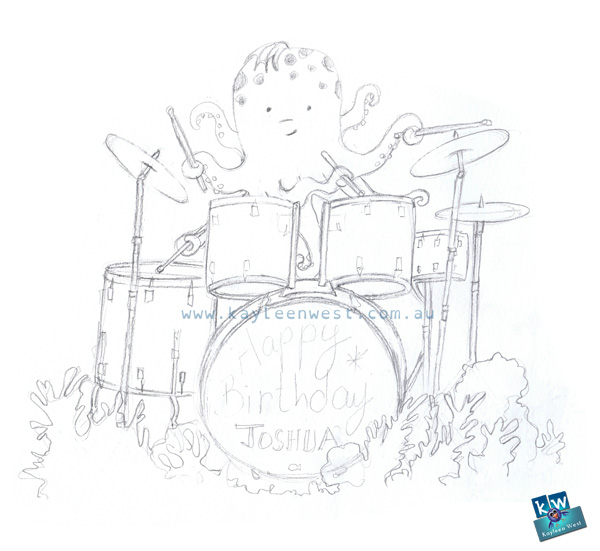 Boy's birthday card sketch rough. Octopus drummer.