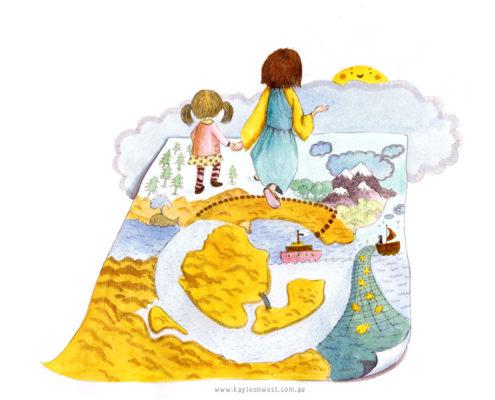 Childrens Book Illustration Letter G
