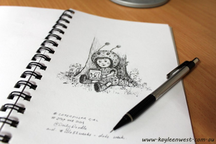Daily Doodle: Caterpillar Girl - Childrens illustration, drawing in sketchbook