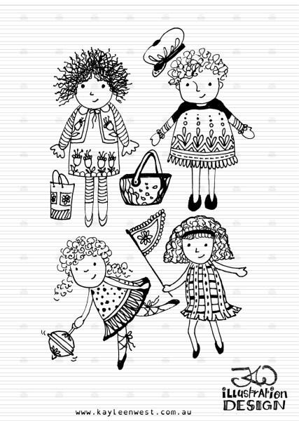 Illustration for INKtober 2014. Little girls so out to play illustration. #inktober
