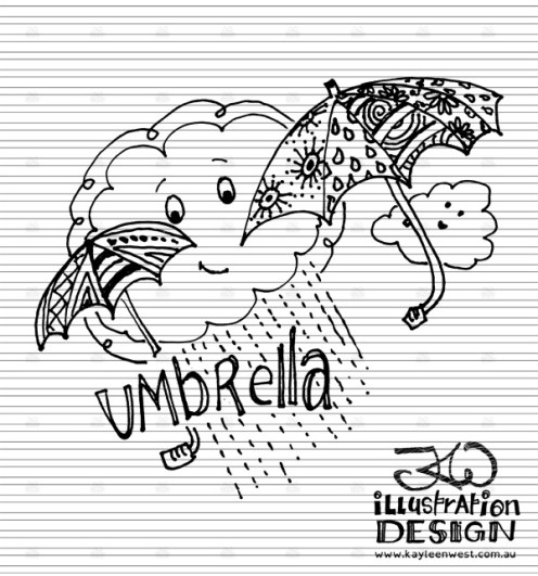INKtober 2014. An inked sketch each day for the month of October. Umbrellas and clouds illustration. #inktober