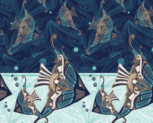 SURFACE PATTERN DESIGN: Art Deco Aquatic design - scarf design