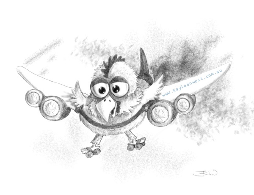 Digital black and white sketch. Airplane Chicken. Airochook. Children's picture book illustration.