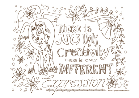 free colouring pages and printables: There is no ugly creativity, there is only different expression
