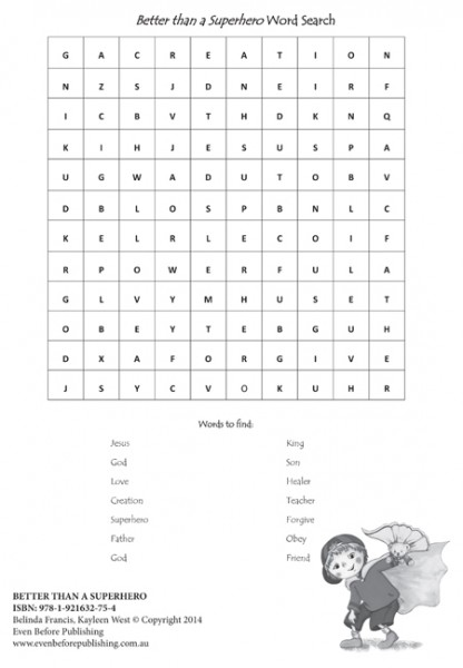 Free printables for kids. Word Search for Better Than A Superhero. Church and ministry activities for kids.