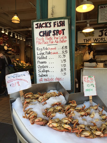Fresh seafood at Pike's Place Market