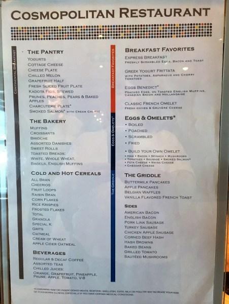 Main Dining room breakfast menu