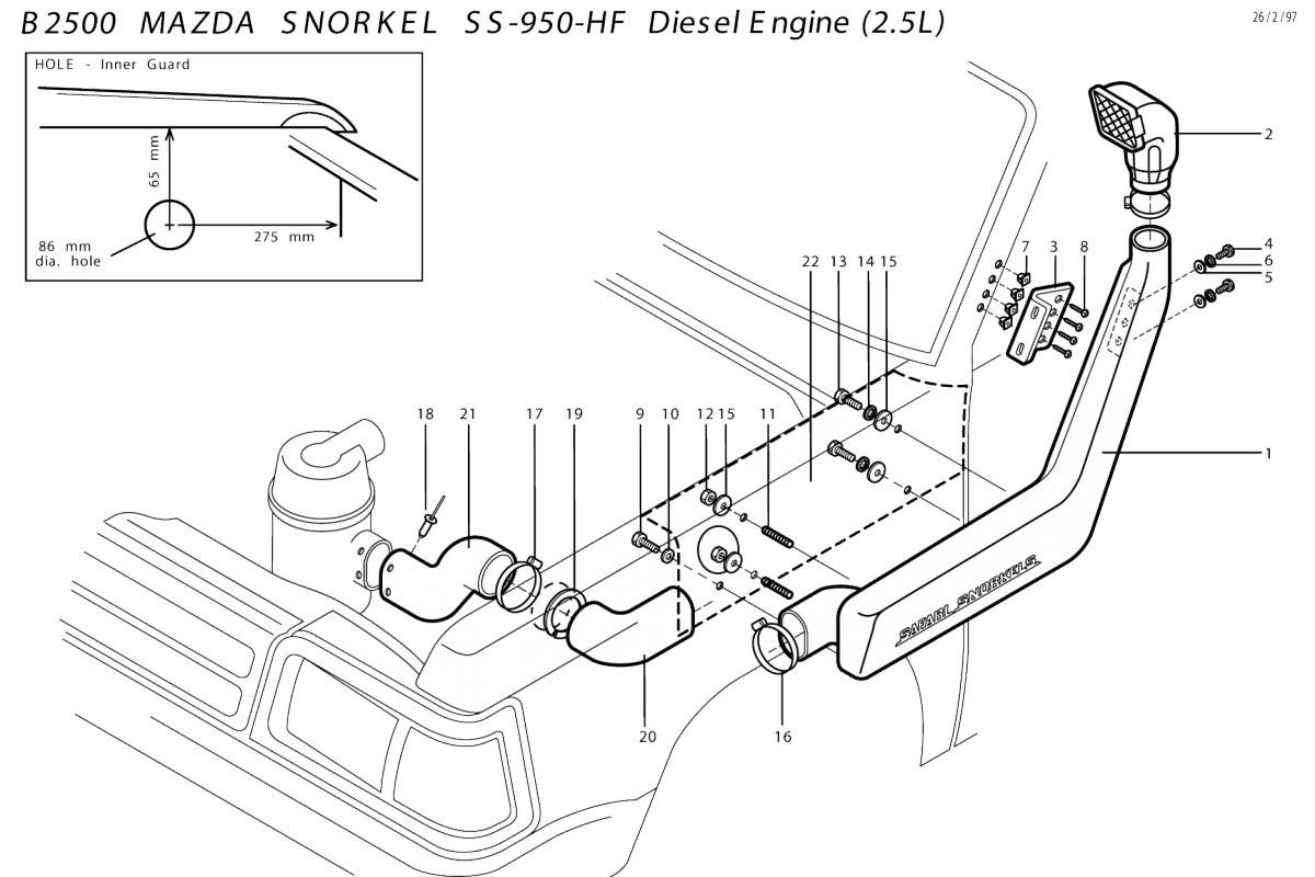 Snorkel Mazda B Simple Ford Ranger Gt