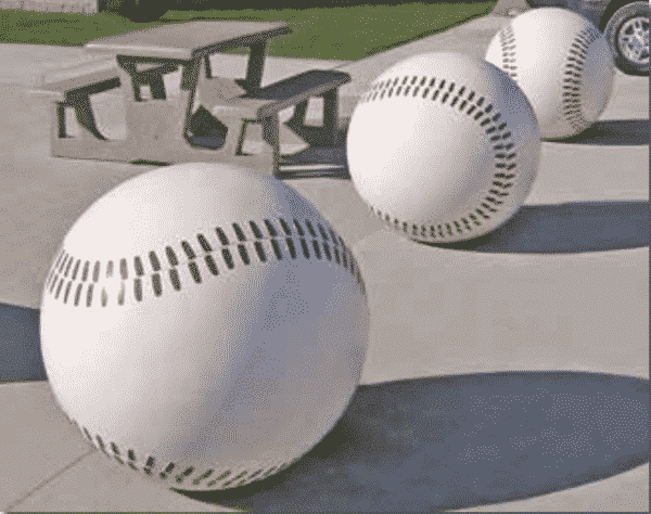 Baseball Themed Concrete Ball Bollards