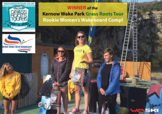 Ladies champion competing in amateur wakeboarding