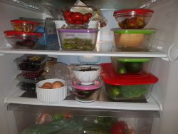 Glass food containers in my fridge