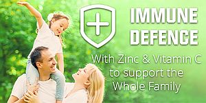 smiling happy family photo with immune defence with zinc and vitamins