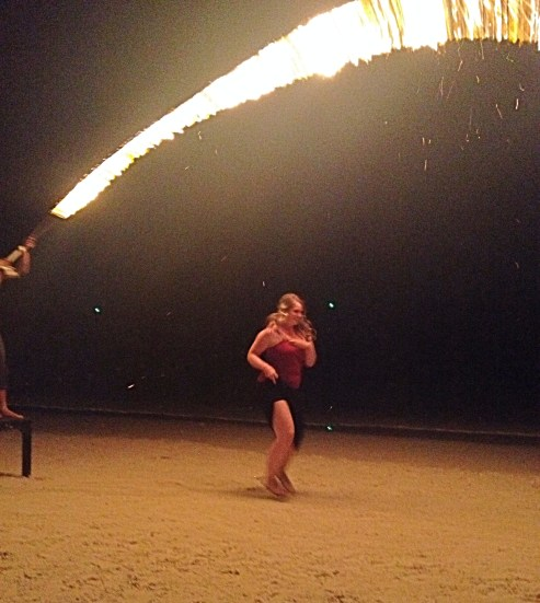 Flaming Jump Rope in a skirt