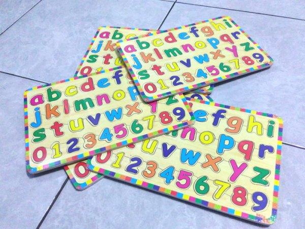 puzzle kayu seru huruf kecil - Puzzle Huruf Kecil & Angka Kayu Seru