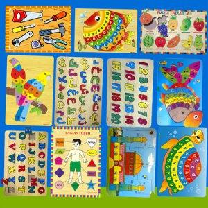 aneka puzzle - Balok Kayu Natural, Produktifitas, Aktifitas dan Kreatifitas Anak