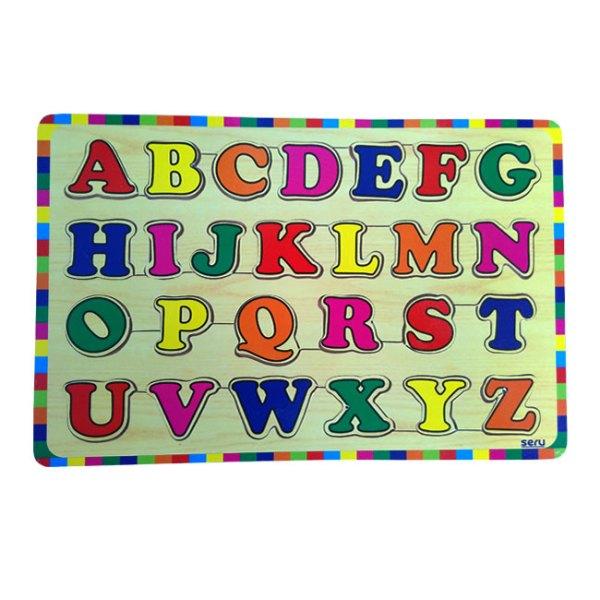 puzzle abjad kayu seru - Puzzle Abjad Huruf Besar