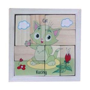 puzzle kucing balok - Plakat Kayu Hadiah Wisuda Siswa SPS Kenanga Tangerang