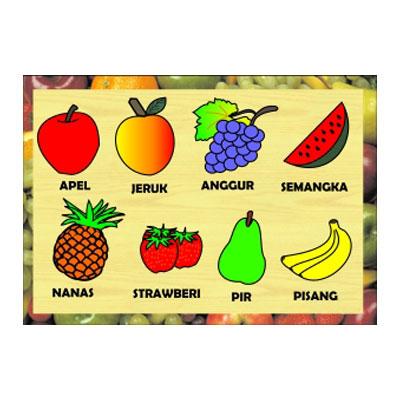 Mainan Kayu Edukatif Puzzle Stiker Buah-buahan | Kayu Seru