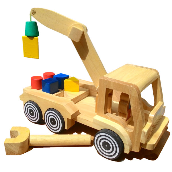 mainan kayu truk pengungkit - Truk Pengungkit