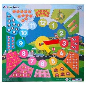 puzzle stiker jam - Souvenir Koin Kayu Untuk Hiasan isi Kotak Hadiah