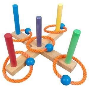 Mainan Lempar Gelang Kayu - Lempar Gelang 5 Tiang