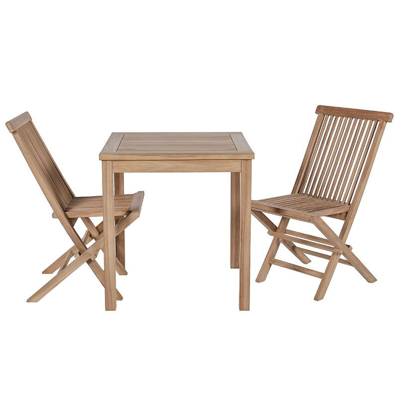ensemble de balcon teck table carree 70cm 2 chaises garden