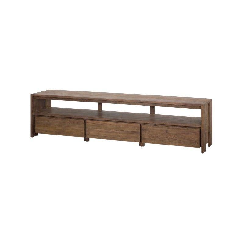 meuble tv teck 3 tiroirs 220cm wang d bodhi