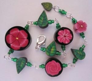 pink flower and leaf bracelet