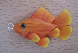 polymer clay goldfish pendant