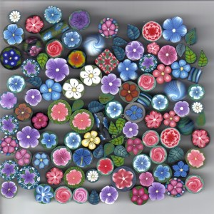 100 polyclay leaf-and-flower beads