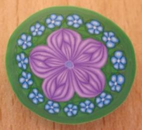 purple and blue flower millefiori cane