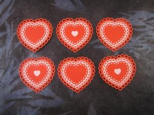pink/red laser cut lacy heart card toppers
