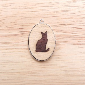 marquetry cat silhouette pendant