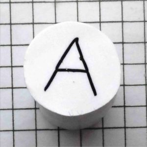 polymer clay alphabet cane - letter A