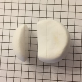 letter F polymer clay alphabet cane - cut off a quarter