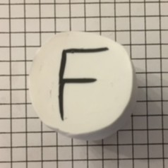 letter F polymer clay alphabet cane