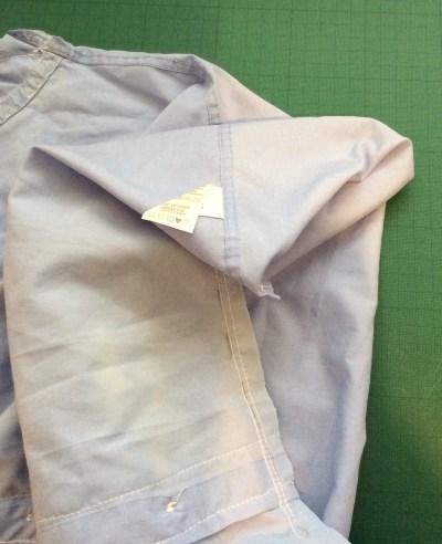 turn an old shirt into a shopping bag - fold corner down