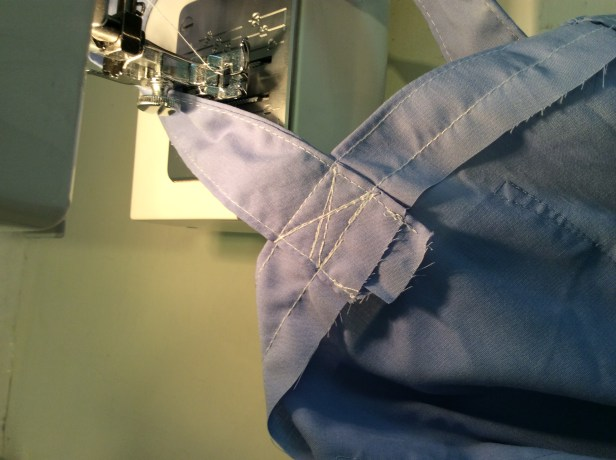turn an old shirt into a shopping bag - sew an X