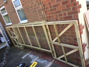 Framework of DIY Foldaway / Pop-Up Motorcycle Shed