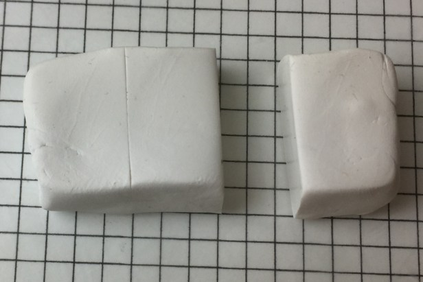 Cut off a third of the white polymer clay block