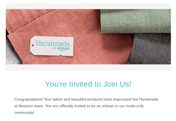 screenshot of amazon handmade invite