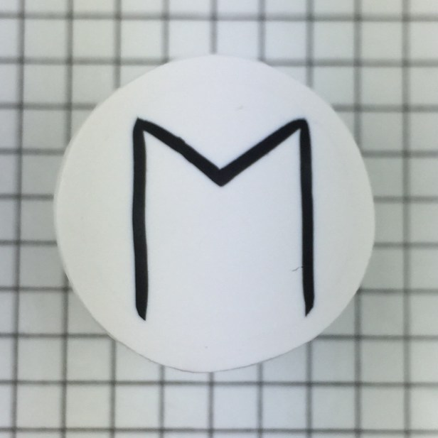 polymer clay letter M alphabet cane free tutorial - finished cane