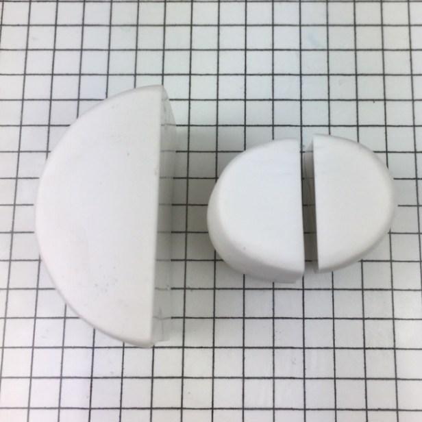 Letter R polymer clay alphabet cane tutorial - cut small cylinder in half