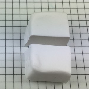 Letter Q polymer clay alphabet cane tutorial - cut white half in half again