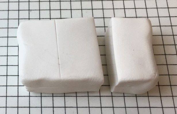 Letter V polymer clay alphabet cane tutorial - cut off a third