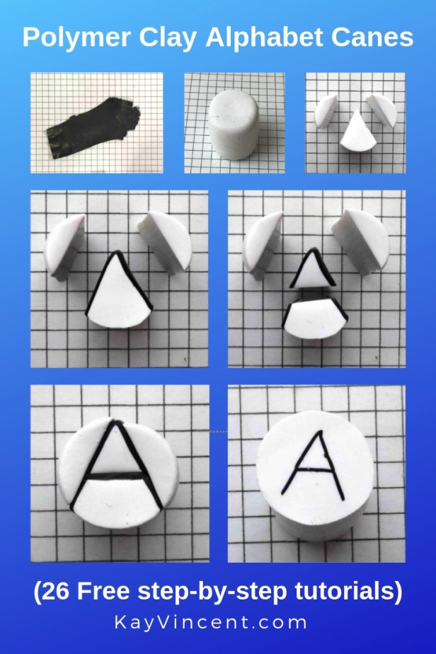 letter A polymer clay alphabet cane - pinterest graphic