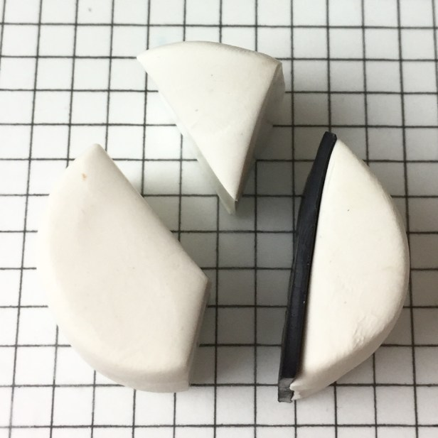 Letter Y polymer clay alphabet cane - insert black clay